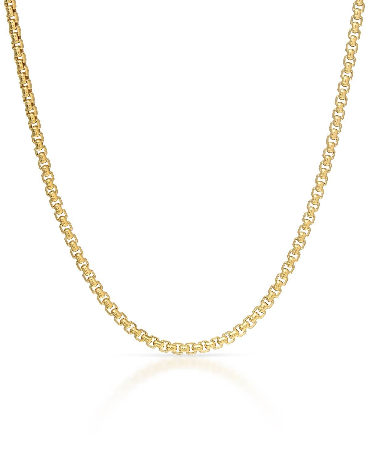 MCS Jewelry 14 Karat Yellow or White Gold Box Rolo Chain Necklace 1.7mm (Size: 18''-24'') (24, yellow-gold) by MCS Jewelry (Image #1)