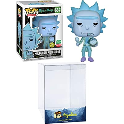 Hologram Rick Clone [Glow-in-Dark] (Funk o-Shop Exc): Funk o Pop! Animation Vinyl Figure Bundle with 1 Compatible 'ToysDiva' Graphic Protector (667 - 44796 - B): Toys & Games