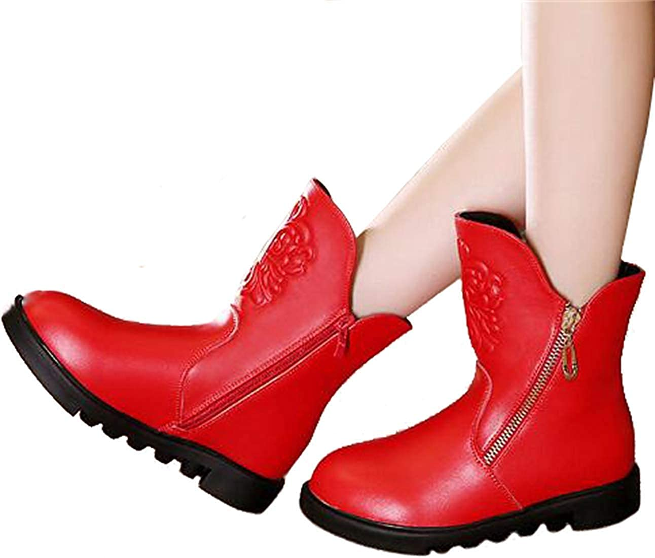 MOREMOO Girls Outdoor Waterproof Side Zip Short Riding Boots Snow Boots