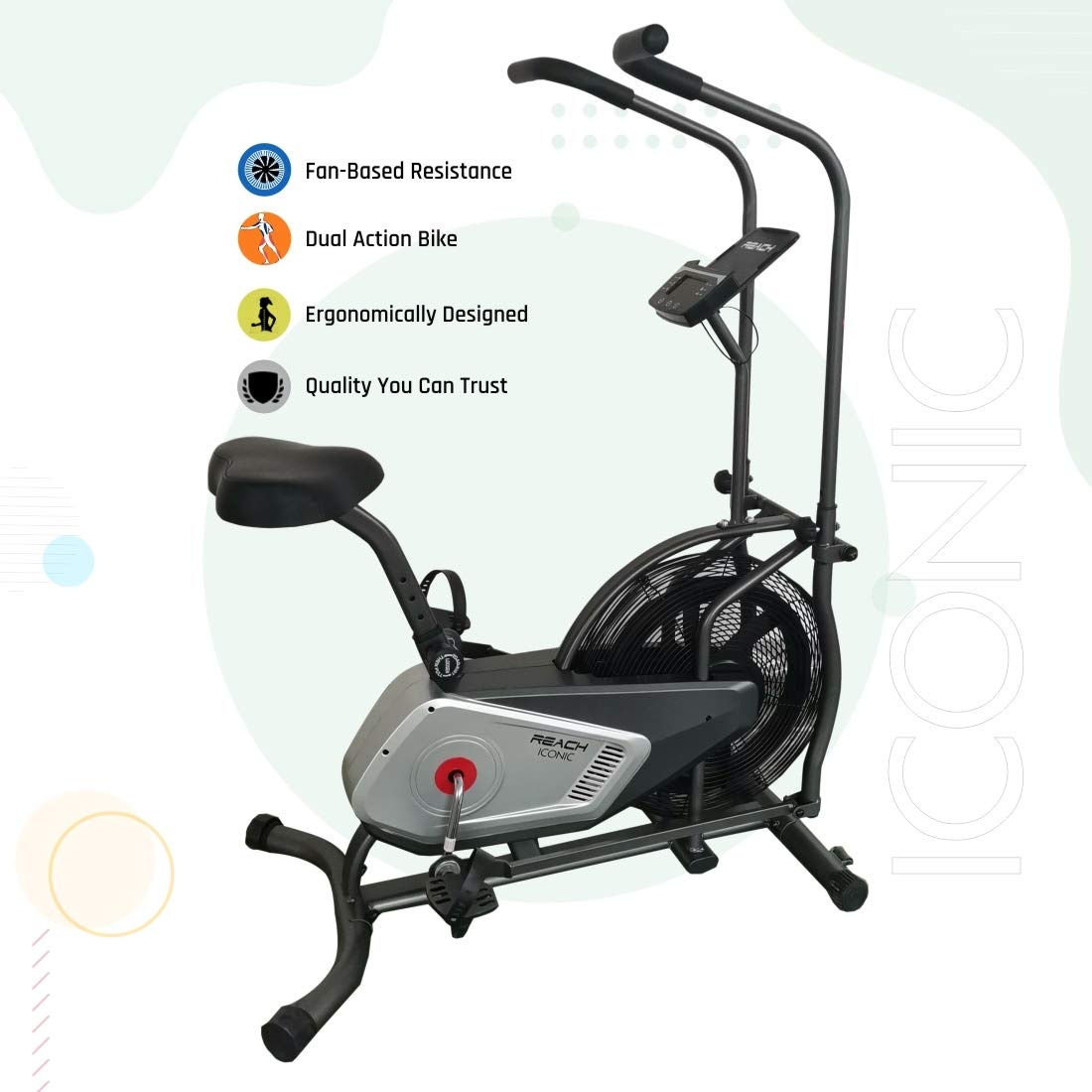 Reach Iconic Air Bike Exercise Gym Cycle with Fan Based Resistance