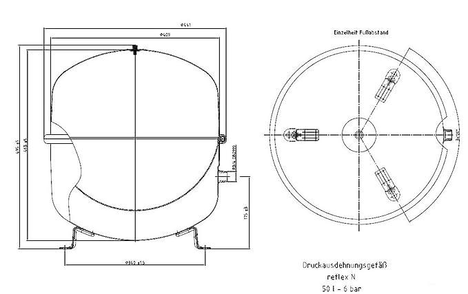Membran-Ausdehnungsgefäß reflex N, 50 Liter, 6 bar: Amazon.de: Baumarkt
