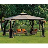 Patio Furniture-Party Gazebo® With 4 Sided Mosquito Net-This is 10 x 12 Outdoor Canopy Party Patio Gazebo-Color CHOCOLATE-Garden Decor-Resin wicker wrapped metal frame and posts-Treated for protection against UV-Water Resistant-High quality gazebo perfect for many outdoor needs-Guaranteed!