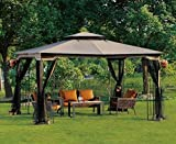 Patio Furniture-Party Gazebo® With 4 Sided Mosquito Net-This is 10 x 12 Outdoor Canopy Party Patio Gazebo-Color CHOCOLATE-Garden Decor-Resin wicker wrapped metal frame and posts-Treated for protection against UV-Water Resistant-High quality gazebo perfec