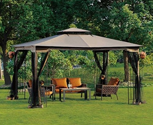 Patio Furniture-Party Gazebo® With 4 Sided Mosquito Net-This is 10 x 12 Outdoor Canopy Party Patio Gazebo-Color CHOCOLATE-Garden Decor-Resin wicker wrapped metal frame and posts-Treated for protection against UV-Water Resistant-High quality gazebo perfec by Regency II