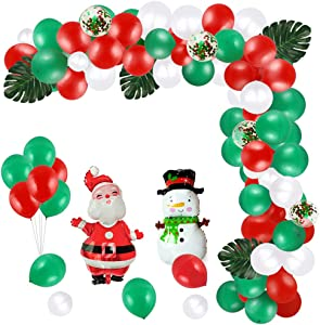 99 Pcs Christmas Party Decorations Indoors Kit Christmas Balloons Party Supplies Turtle Leaf & Christmas Balloons with Santa Claus/Snowman Patterns Confetti Red Green White Latex Balloons