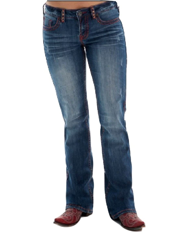 Cowgirl Tuff Western Denim Jeans Womens Red Rocks Rivets Med JREDRK