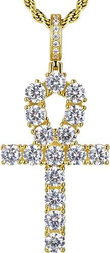 Pendientes de Plata de Ley 925 Pendientes(-) LEEQ KRKC/&CO Iced out Pendientes chapados en Oro de 14 Quilates con circonitas 5A