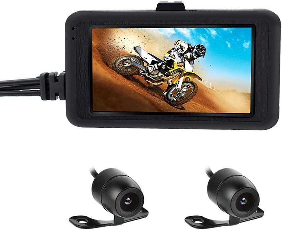 Best4U Cámara de Motocicleta Dash CAM 1080p Dual Lente grabadora de vídeo Motocicleta Cubierta Deportes cámara de acción 3