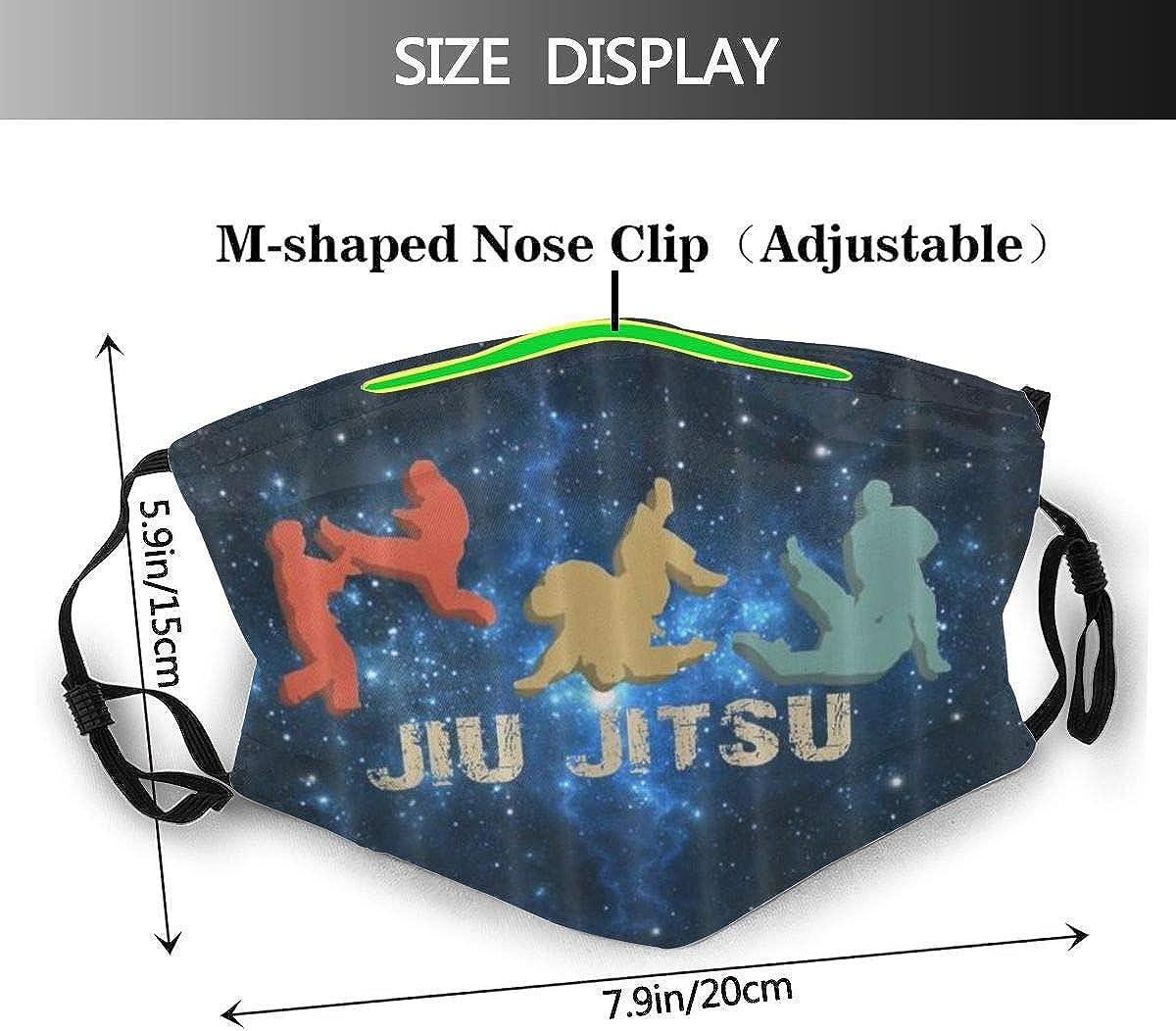 NISENCOLK Face Cover Vintage Retro Jiu Jitsu Balaclava Unisex Reusable Windproof Anti-Dust Mouth Bandanas