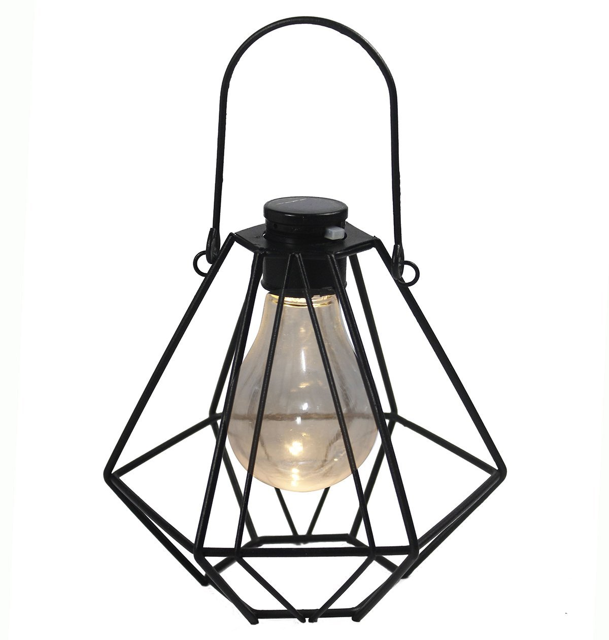 Obell Industrial Vintage Metal Diamond Shape Cage Lights- Warm Night Light- Hanging Solar Lights-Solar Table Lamp (Black)