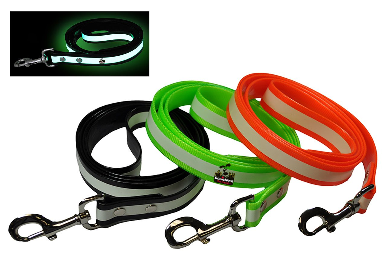 Downtown Pet Supply New Glow In the Dark Dog and Cat Safety Leash Lead, Durable Strong TPU Leash, Suitable for Small Medium and Large Cats or Dogs, Color Black, By