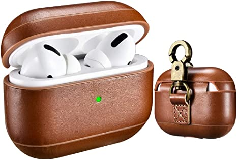 AirPods Case Brown The Front LED Visible Wireless Charging Cover for Apple Airpod 2 /& 1 ICARER Genuine Airpods Leather Case