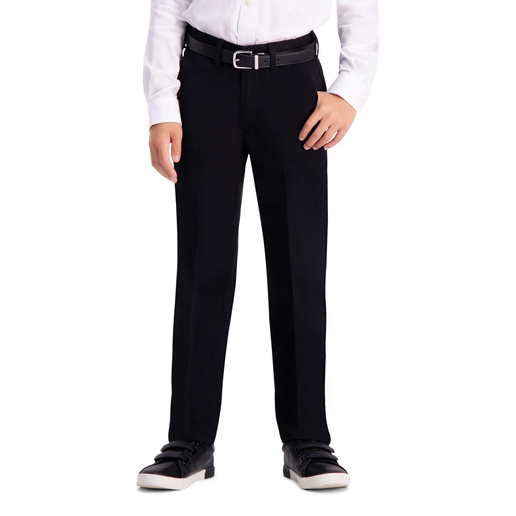 Haggar Big Boy's Youth Regular 8-20 Premium No Iron Khaki Pant, Black, 12 REG