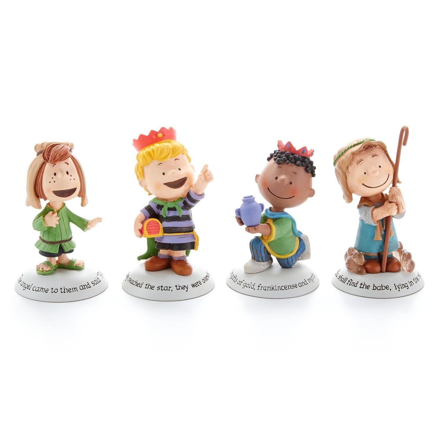 Hallmark 2014 Glad Tidings Peanuts Nativity Additional Characters Set - Set of 4 Figurines - (Nativity Accessories) - #XKT1446 6145461