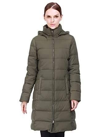 Puredown Women's Light Long Goose Down Jacket Hooded Coat at