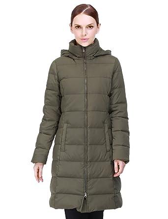 Puredown Women&39s Light Long Goose Down Jacket Hooded Coat at