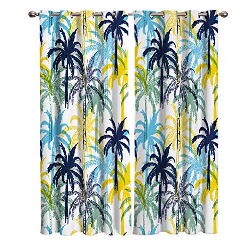 T&H Home Blackout Curtain Silver Grommet Multicolor Tropical Coconut Palm Tree Summer Life Patterned Fabric 2 Panels Set, Darkening Draperies & Curtains for Living Room Bedroom 80