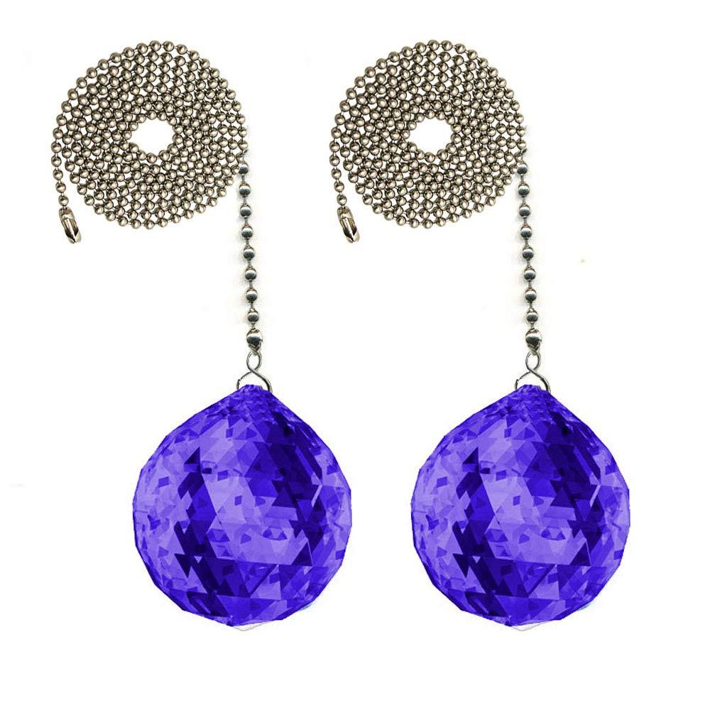 CrystalPlace Fan Pull 30mm Swarovski Blue Violet Ball Prism Decorative Ceiling Fan Chain Pulls Set of 2