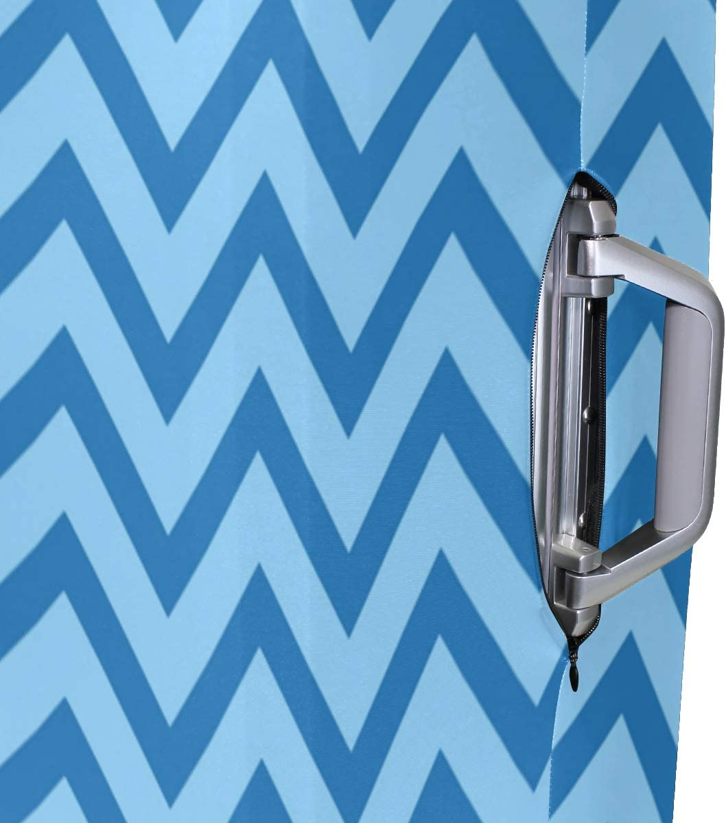 Cute 3D Blue Chevron Zigzag Pattern Luggage Protector Travel Luggage Cover Trolley Case Protective Cover Fits 18-32 Inch