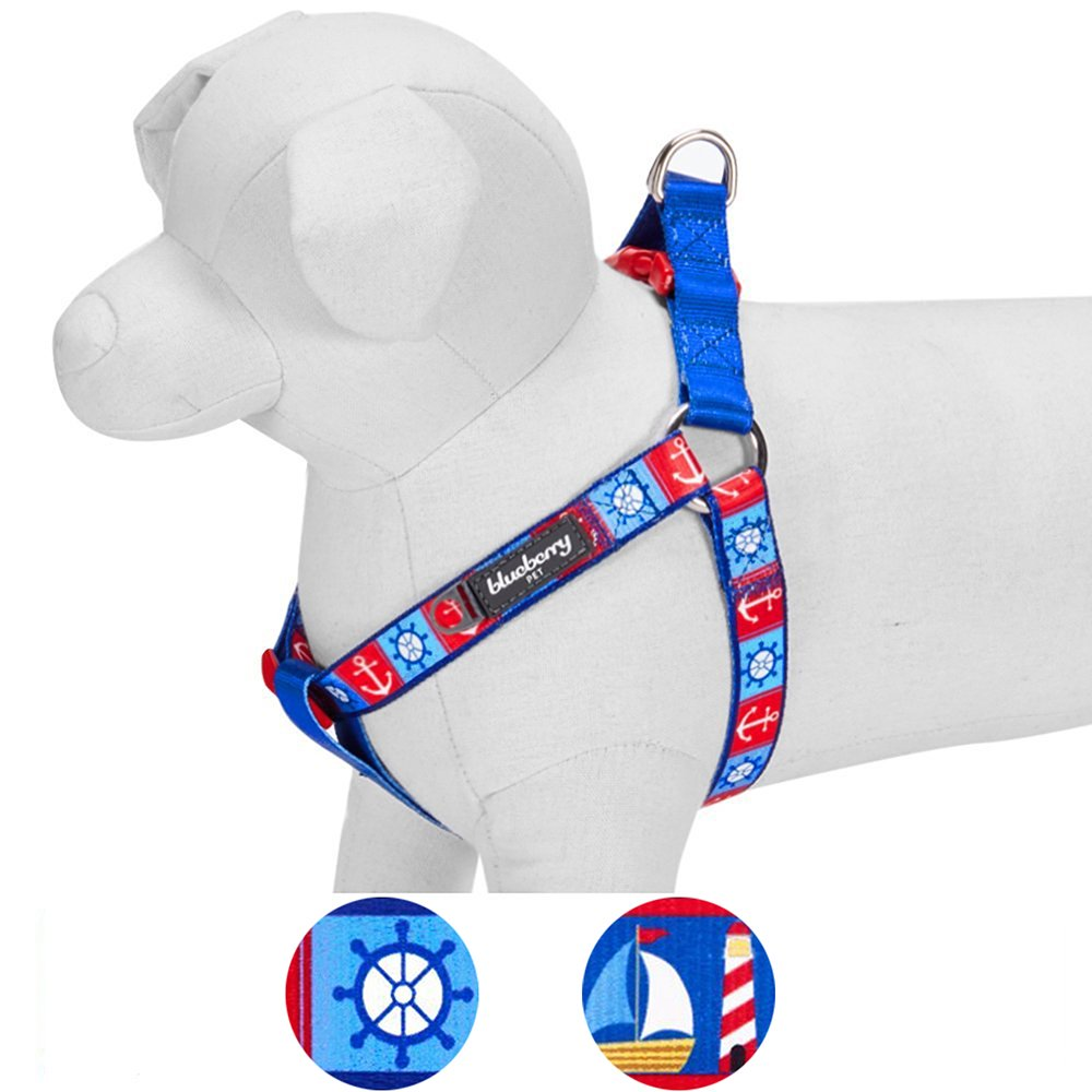Blueberry Pet 2 Patterns Step-in Classy Bon Voyage Nautical Ocean Harbor Designer Dog Harness, Chest Girth 26'' - 39'', Large, Adjustable Harnesses for Dogs by Blueberry Pet (Image #1)