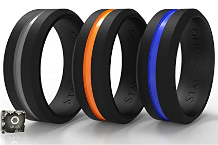 Swagmat Men S Silicone Wedding Ring Bands 3 Ring Pack Black