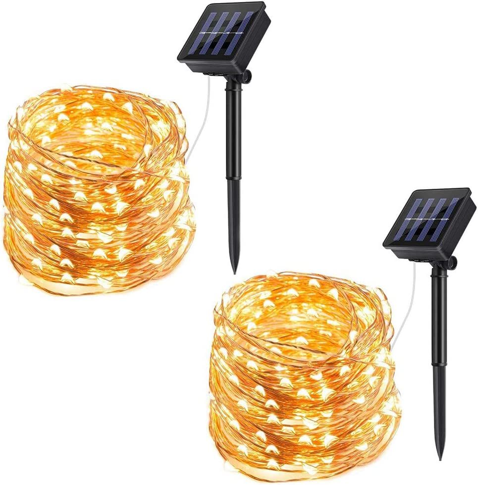 ECOWHO Solar String Lights Outdoor, 72ft 200 LED Solar Powered Fairy Lights Waterproof Decorative Lighting for Patio Garden Yard Party Wedding (2 Pack)