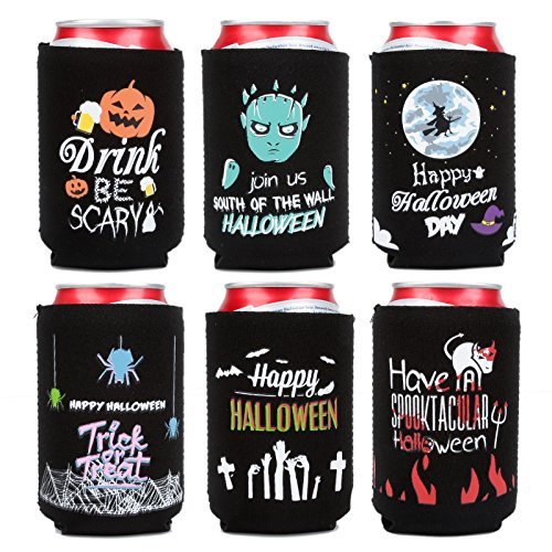 LAGUTE Beer Collapsible Insulated Coolies, Extra Thick Neoprene 6 Packs Can Sleeve Covers Fits 12 Oz Cans, Holds Longer Cold for Beer/Soda/Soft Drink, Great for Wedding, Events or (Stella Bar Table)