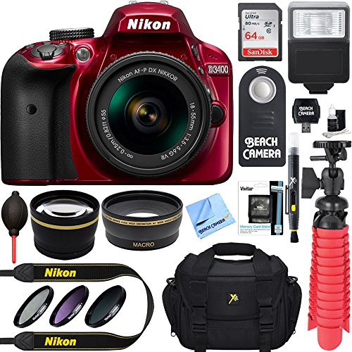 Nikon D3400 24.2 MP DSLR Camera + AF-P DX 18-55mm VR NIKKOR Lens Kit + Accessory Bundle 64GB SDXC Memory + SLR Photo Bag + Wide Angle Lens + 2x Telephoto Lens + Flash + Remote + Tripod+Filters (Red) by Nikon