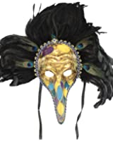 RedSkyTrader Mens Long Nose Feathered Carnival Mask