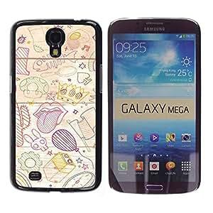 Caucho caso de Shell duro de la cubierta de accesorios de protección BY RAYDREAMMM - Samsung Galaxy Mega 6.3 I9200 SGH-i527 - Wallpaper Childrens Drawing Art Tongue Balloon