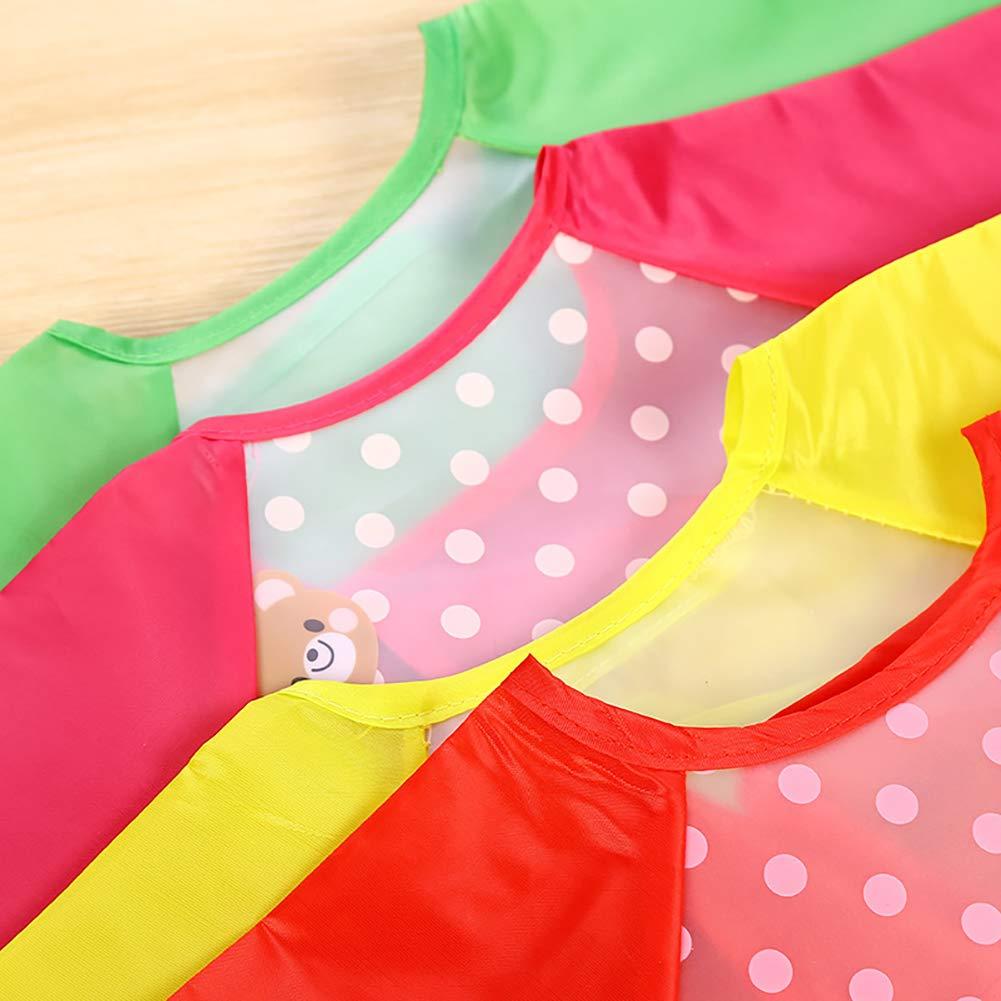 Baberos de bebé con mangas largas Batas de bebé impermeables para niños Delantal para alimentar al bebé comer jugando Delantales 1Pc color al azar: ...