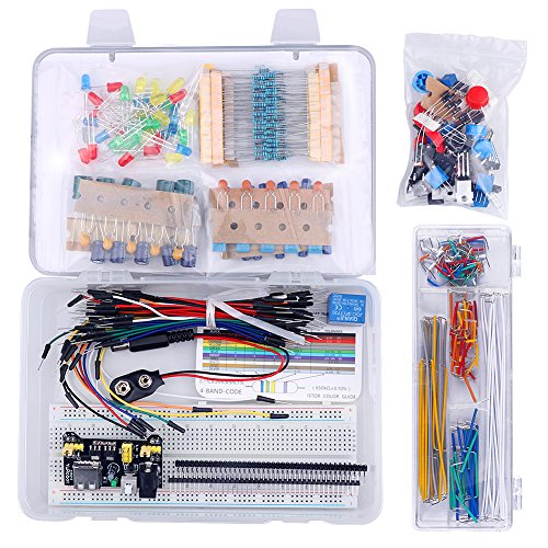 Emakefun Electronics Component Super Kit with Power Supply Module, Jumper Wire, 830 tie-points Breadboard, Precision Potentiometer ,Resistor for Arduino UNO, MEGA2560, Raspberry Pi by Emakefun (Image #1)