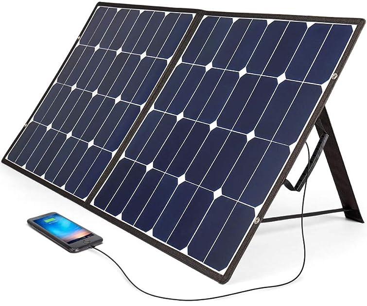BougeRV 太陽光発電充電器(100W/12V)折りたたみ・防災・防水・スマホ充電可能 SunPower