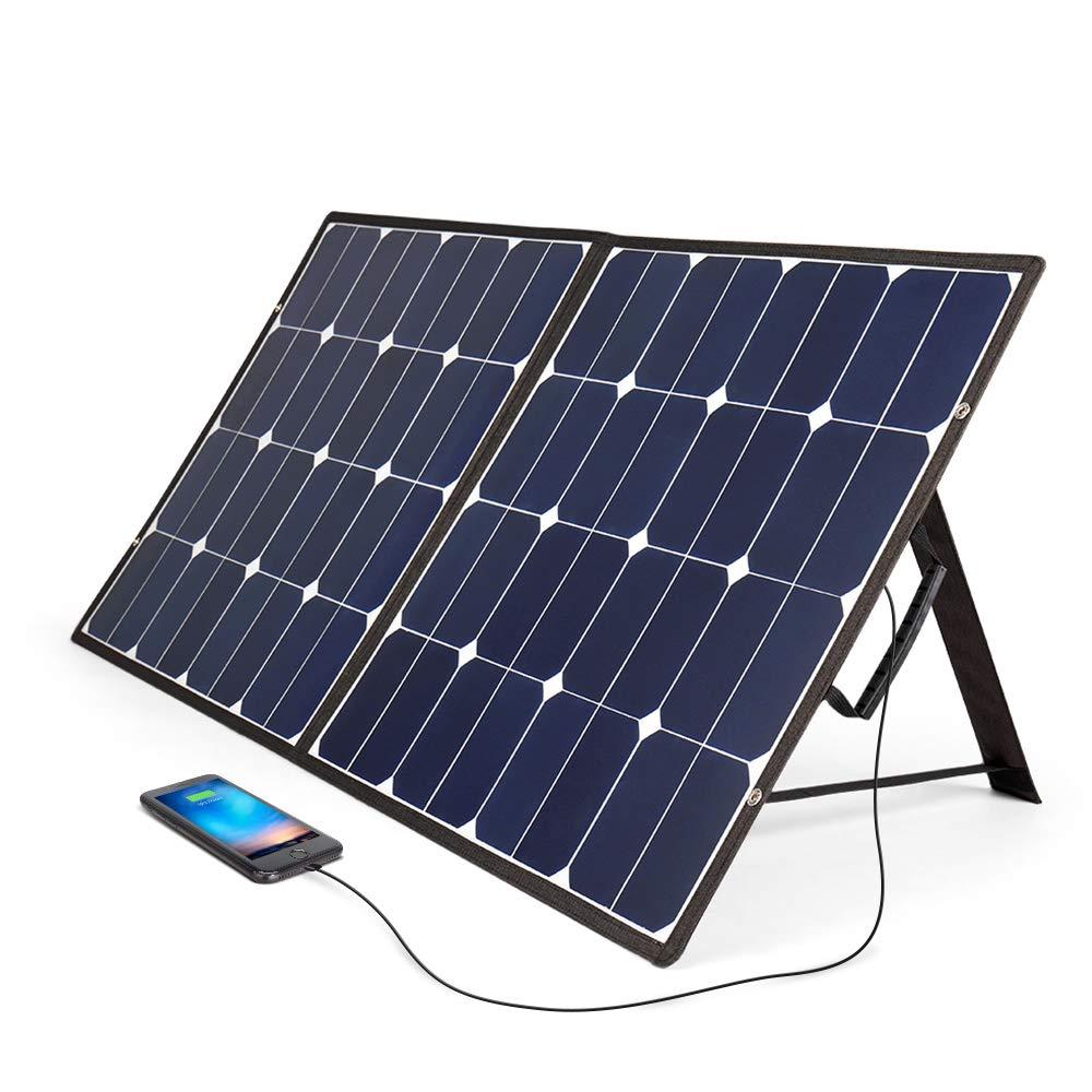 BougeRV 100 Watt 18V 12V Solar Panel SunPower Cell Solar Charger Foldable Portable Dual Output (5V/2A USB + 18V/5A DC), 10 Laptops Connectors Suitable for Smartphones, Tablet, Generator, RV, Boat by BougeRV (Image #9)