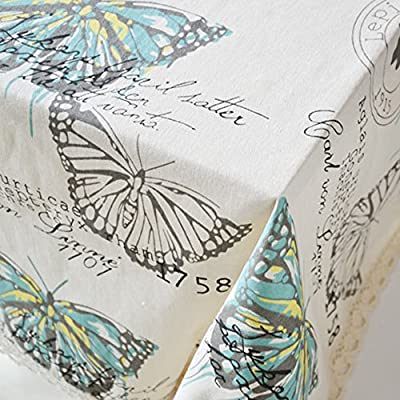 ColorBird Pastoral Teal Butterfly Home Decorative Lace Linen Tablecloth Cotton Canvas Fabric Kitchen Dinning Table Cover