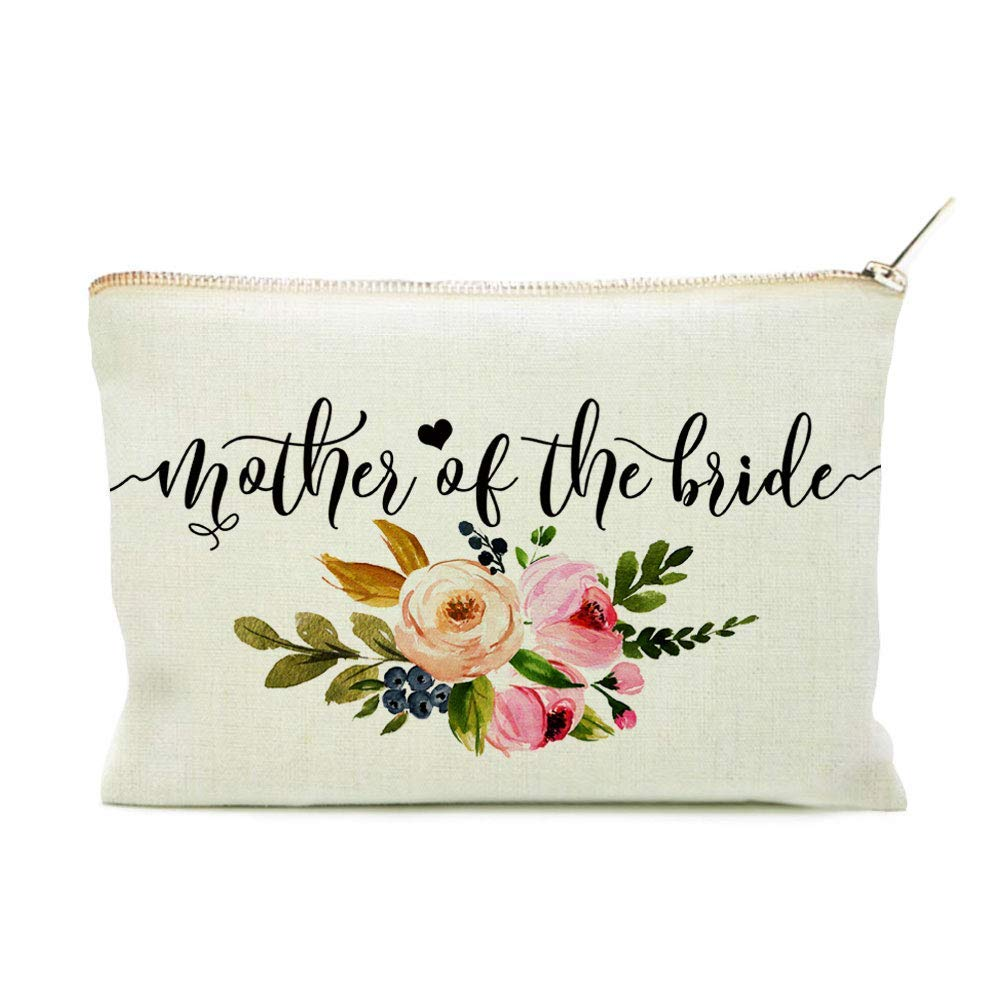 B07QWG5RC1 Mother of the Bride Cosmetic Bag, Mother of the Bride Floral Makeup Bag, Mother of the Bride Gift, Floral Cosmetic Bag, Floral Makeup Bag, Wedding Pouch, Makeup Case 61cKGSlbdnL