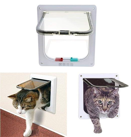 WXJHA Aleta para Gatos, Puertas para Gatos con Cierre de 4 ...