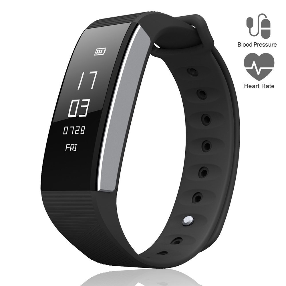 Le Pan Smart Watch Fitness Tracker, Bluetooth Blood Pressure Heart Rate Monitor, Pedometer, Touchscreen Sleeping Monitor, Smart Bracelet Water Resistant Silicone Bands Android iOS - Black