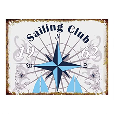Shunry Sailing Club Placa Cartel Vintage Estaño Signo Metal ...