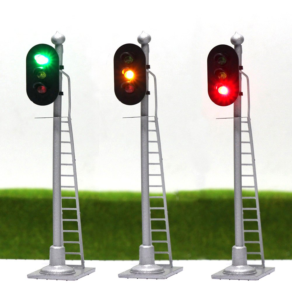 Jtd873gyr 3pcs Model Railroad Train Signals 3 Lights Garden Railway Sensors Block Signal Ho Scale 12v Green Yellow Red Traffic For Layout New Toys