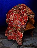 Red Handmade Gujarat Patchwork Tapestry Bedspread