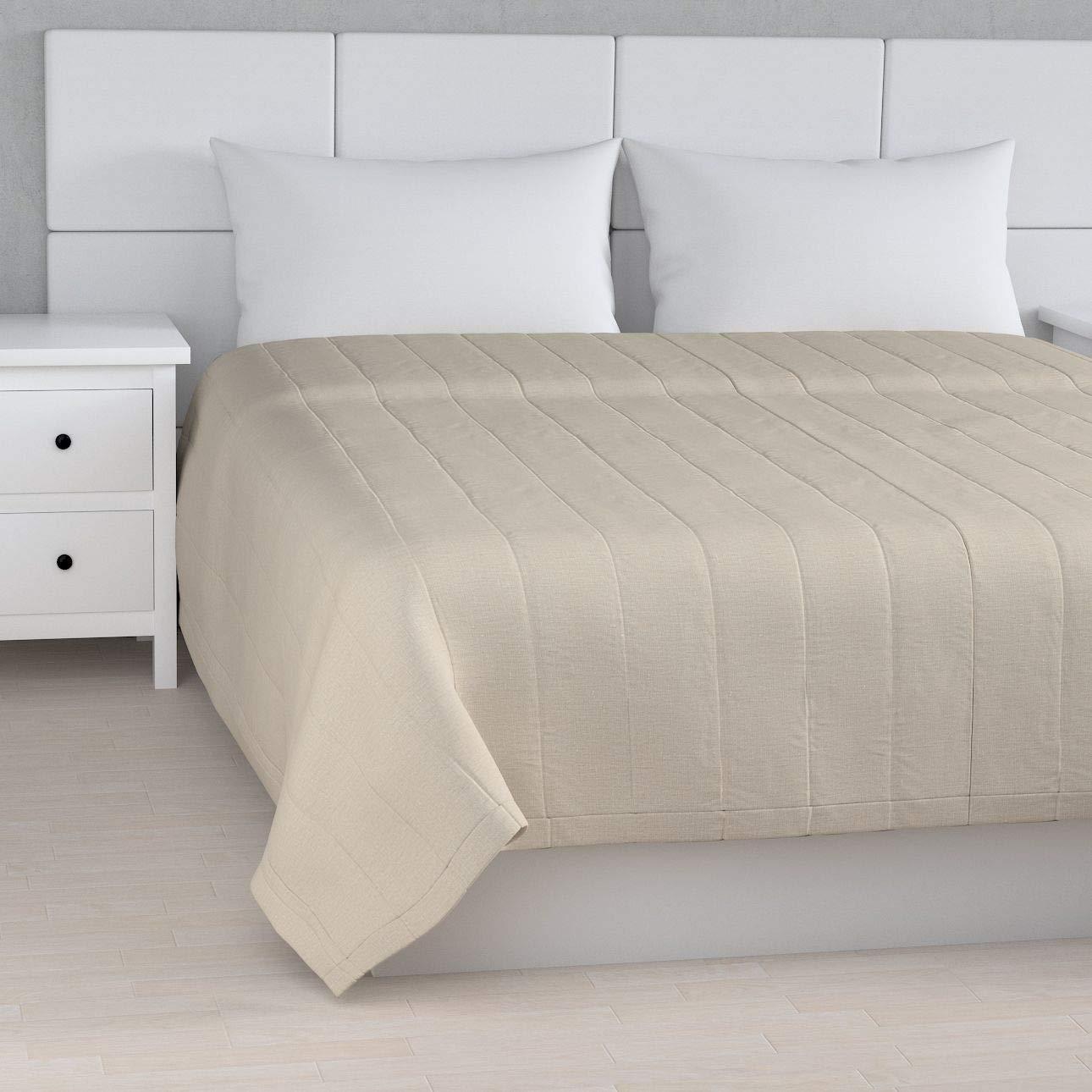 Dekoria Quilted throw(縦型キルトパターン)260 x 210 cm(102 x 83インチ) - ナチュラルリネン(重要:暖かいベージュの色合い)   B01CYYY4MO