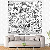 VROSELV custom tapestry Video Games Wall Hanging Tapestry Black and White Sketch Style Gaming Design Racing Monitor Device Gadget Teen 90s Bedroom Living Room Dorm Decor Blak White