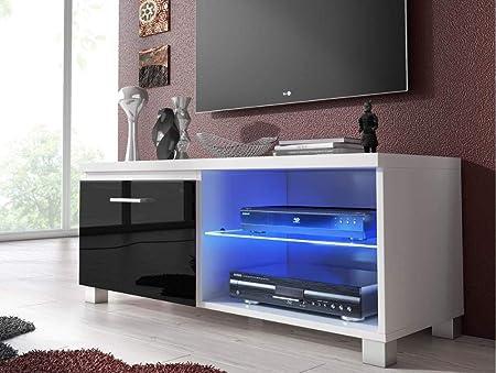Comfort Home Innovation – Meuble de télévision LED, Salon-Salle à Manger,  Blanc et Noir Laqué, Dimensions: 100 x 40 x 42 cm de Profondeur.