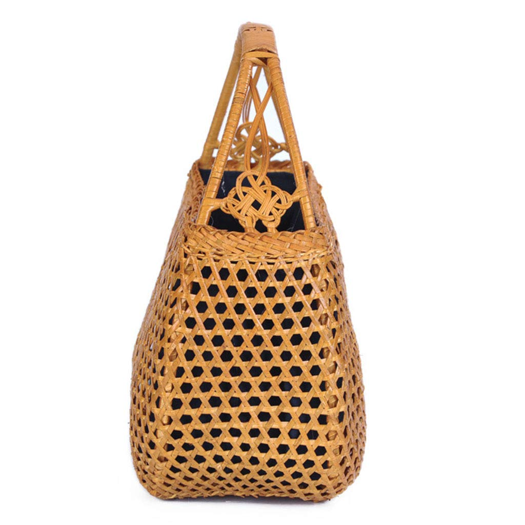 Women's Bag, Handbag - Rattan Woven Bag - Tea Ceremony Zero with Shopping Basket - Tea Set Storage Bag - Daily Retro Handbag by BHM (Image #3)