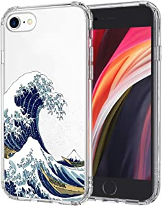 MOSNOVO Tokyo Wave Pattern Designed for iPhone SE 2020 Case/Designed for iPhone 8 Case/Designed for iPhone 7 Case - Clear