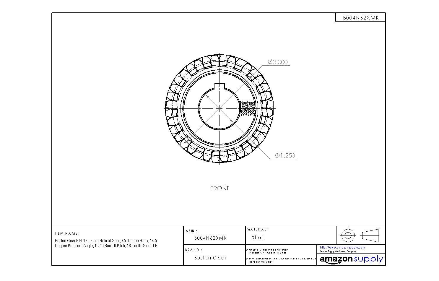 14.5 Degree Pressure Angle 18 Teeth Steel 45 Degree Helix 1.250 Bore LH Boston Gear HS618L Plain Helical Gear 6 Pitch