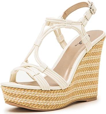 Qupid Straw Wedge Heels Pump Sandals