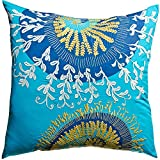 Koko Mexico Eagle Print and Embroidery Cotton Pillow, 15 by 27-Inch, Multi-Color