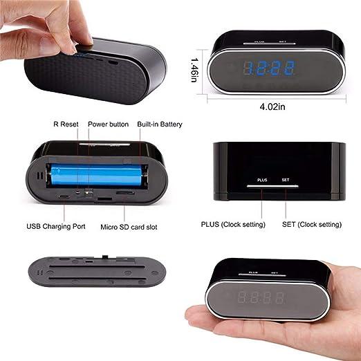 YMXLJJ Mini Alarma Reloj cámara 1080p HD cámara WiFi conexión 12 Infrarrojos visión Nocturna lámpara Escritorio Reloj Inicio Seguridad Apoyo ...